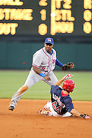 Round Rock Express second baseman Esteban German #6 attempts to turn a double play as Jim Rapoport #44 slides in during a game versus the Memphis Redbirds at Autozone Park on April 28, 2011 in Memphis, Tennessee.  Memphis defeated Round Rock by the score of 6-5 in ten innings.  Photo By Mike Janes/Four Seam Images