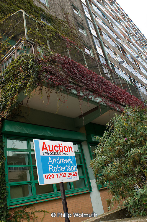 Flat for sale on the Aylesbury Estate, in South London. 2700 homes on the estate are scheduled for demolition.   Southwark Council plans to redevelop the 28.5 hectare site, one of Europe's largest public housing estates, with a mixture of social and private housing.