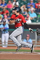 Birmingham Barons left fielder Trayce Thompson #21 swings at a pitch during a game against the Tennessee Smokies at Smokies Park on May 31, 2014 in , Tennessee. The Barons defeated the Smokies 2-1. (Tony Farlow/Four Seam Images)