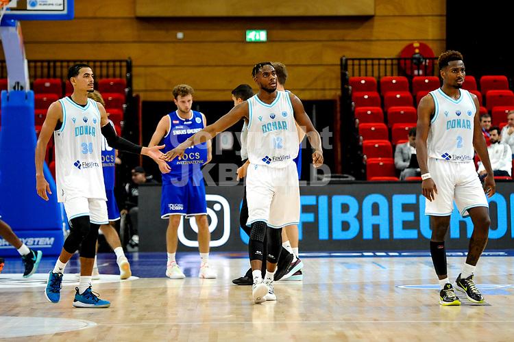 GRONINGEN - FIBA Basketbal-bubbel. Donar - Allianz Swans Gmunden seizoen 2021-2022, 29-09-2021,  tevredenheid na afloop bij Donar