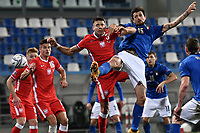 Jan Bednarek of Poland and Francesco Acerbi of Italy compete for the ball during the Uefa Nation League Group Stage A1 football match between Italy and Poland at Citta del Tricolore Stadium in Reggio Emilia (Italy), November, 15, 2020. Photo Andrea Staccioli / Insidefoto