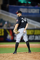 Chattanooga Lookouts relief pitcher Luke Bard (24) looks in for the sign during a game against the Jackson Generals on April 27, 2017 at The Ballpark at Jackson in Jackson, Tennessee.  Chattanooga defeated Jackson 5-4.  (Mike Janes/Four Seam Images)