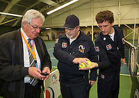 Rotterdam, The Netherlands, March 20, 2016,  TV Victoria, NOJK 14/18 years, Chief of umpires Leo Lucas (L) with two umpires<br /> Photo: Tennisimages/Henk Koster