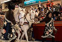 Pferdewagen bei  der Karfreitagsprozession der Semana Santa (Karwoche) in Lorca,  Provinz Murcia, Spanien, Europa