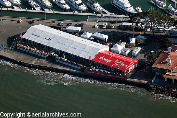 aerial photograph Americas Cup sailboat regatta San Francisco bay California