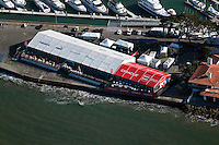 aerial photograph Americas Cup sailboat regatta San Francisco bay California