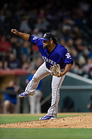 Albuquerque Isotopes relief pitcher Jairo Diaz (18) during a Pacific Coast League game against the El Paso Chihuahuas at Southwest University Park on May 10, 2019 in El Paso, Texas. Albuquerque defeated El Paso 2-1. (Zachary Lucy/Four Seam Images)