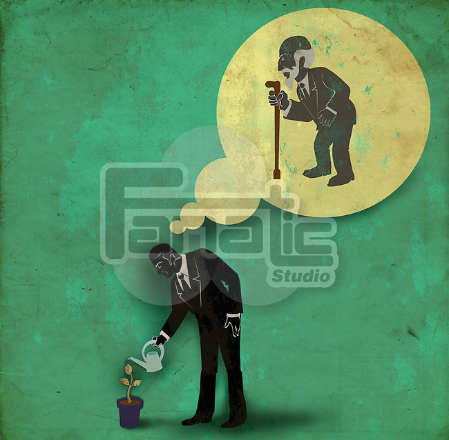 Businessman watering plant with thought bubble of an old man depicting savings for retirement