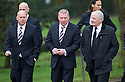 Kenny McDowall, Ally McCoist, and Archie Knox arrive at Mortonhall Crematorium for the funeral service of Sandy Jardine.