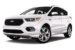 Stock pictures of low aggressive front three quarter view of a 2017 Ford Kuga Vignale 5 Door SUV