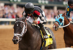 LEXINGTON, KY - April 06, 2018. #4 Shanghaied Roo and jockey Gabriel Saez win the 3rd race, Maiden $60,000 for 2 year olds at Keeneland Race Course.  Lexington, Kentucky. (Photo by Candice Chavez/Eclipse Sportswire/Getty Images)