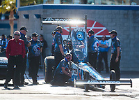 Nov 2, 2019; Las Vegas, NV, USA; Crew members for NHRA top fuel driver Antron Brown during qualifying for the Dodge Nationals at The Strip at Las Vegas Motor Speedway. Mandatory Credit: Mark J. Rebilas-USA TODAY Sports