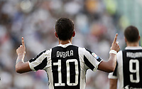 Calcio, Serie A: Torino, Allianz Stadium, 19 agosto 2017. <br /> Juventus' Paulo Dybala celebrates after scoring during the Italian Serie A football match between Juventus and Cagliari at Torino's Allianz Stadium, August 19, 2017.<br /> UPDATE IMAGES PRESS/Isabella Bonotto