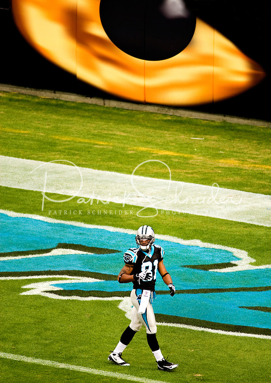 Wide receiver Kenneth Moore (#81) walks past a giant Panther eye on the wall of Bank of America Stadium. Photo from the Carolina Panthers' 20-9 loss to the Buffalo Bills in Charlotte on Sunday, Oct. 25, 2009. Professional American NFL football team The Carolina Panthers represents North Carolina and South Carolina from its hometown of Charlotte, NC. The Carolina Panthers are members of the NFL's National Football Conference South Division. The Charlotte professional football team began playing in Charlotte in 1995 as an expansion team.  The Carolina Panthers play in Bank of America Stadium, formerly known as Carolinas Stadium and Ericsson Stadium.
