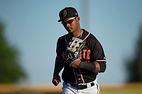 Modesto Nuts center fielder Anthony Jimenez (5) jogs off the field between innings of a California League game against the San Jose Giants at John Thurman Field on May 9, 2018 in Modesto, California. San Jose defeated Modesto 9-5. (Zachary Lucy/Four Seam Images)