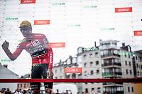 red jersey (overall leader) Primoz Roglic (SVK/Jumbo-Visma) signing on<br /> <br /> Stage 16: Pravia to Alto de La Cubilla. Lena (144km)<br /> La Vuelta 2019<br /> <br /> ©kramon