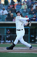 Brendan Rogers (1) of the Lancaster JetHawks bats against the Rancho Cucamonga Quakes at The Hanger on April 28, 2017 in Lancaster, California. Lancaster defeated Rancho Cucamonga, 16-10. (Larry Goren/Four Seam Images)