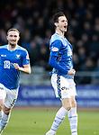 Dundee v St Johnstone…29.12.18…   Dens Park    SPFL<br />Scott Tanser celebrates his goal<br />Picture by Graeme Hart. <br />Copyright Perthshire Picture Agency<br />Tel: 01738 623350  Mobile: 07990 594431