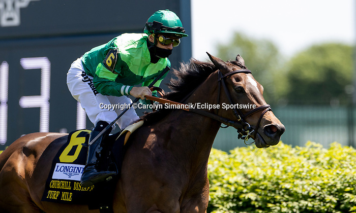 May 1, 2021 : Blowout, #6, ridden by jockey Joel Rosario, wins the Longines Churchill Distaff Turf Mile on Kentucky Derby Day at Churchill Downs on May 1, 2021 in Louisville, Kentucky. Carolyn Simancik/Eclipse Sportswire/CSM
