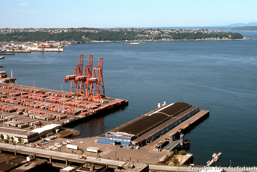 Seattle: Panorama--Waterfront from Smith Tower. Photo '86.