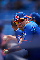 St. Lucie Mets hitting coach Valentino Pascucci (34) during a game against the Brevard County Manatees on April 17, 2016 at Tradition Field in Port St. Lucie, Florida.  Brevard County defeated St. Lucie 13-0.  (Mike Janes/Four Seam Images)