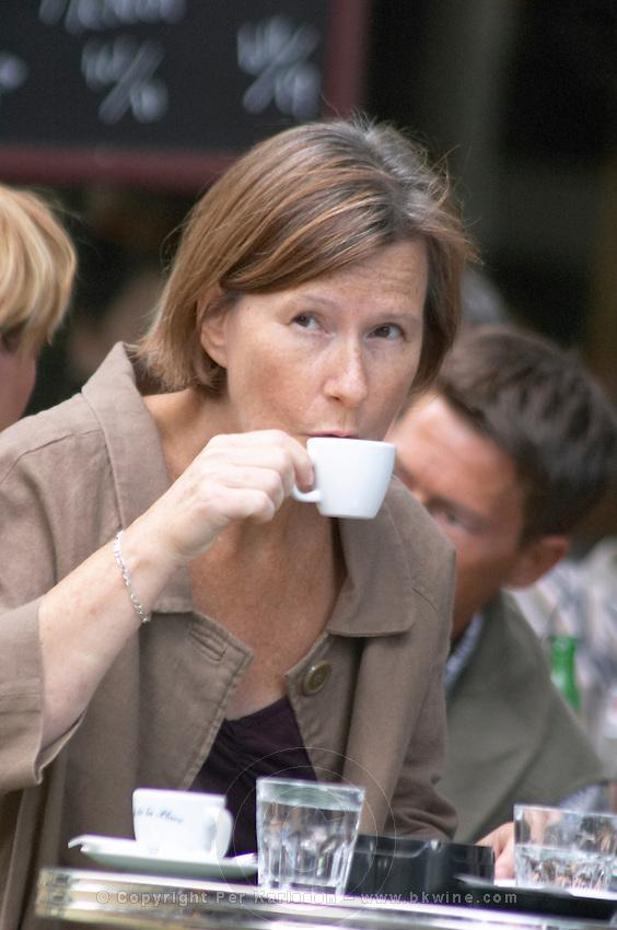 Britt Karlsson, BKWine, in a cafe in Paris Paris, France.