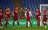 Football, Serie A: AS Roma - Atalanta Olympic stadium, Rome, April 22, 2021. <br /> Roma's Bryan Cristante (central R) celebrates after scoring with is teammates  during the Italian Serie A football match between AS Roma and Atalanta at Rome's Olympic stadium, Rome, on April 22, 2021.  <br /> UPDATE IMAGES PRESS/Isabella Bonotto