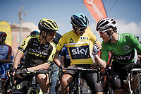 Esteban Chaves (COL/Mitchelton-Scott), Egan Bernal (COL/SKY) & Michał Kwiatkowski (POL/SKY) share a joke at the start<br /> <br /> Stage 8: Nice to Nice (110km)<br /> 77th Paris - Nice 2019 (2.UWT)<br /> <br /> ©kramon