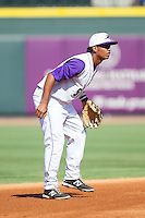 Winston-Salem Dash shortstop Cleuluis Rondon (5) on defense against the Wilmington Blue Rocks at BB&T Ballpark on July 6, 2014 in Winston-Salem, North Carolina.  The Dash defeated the Blue Rocks 7-1.   (Brian Westerholt/Four Seam Images)