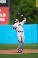 Akron RubberDucks second baseman Todd Hankins (8) catches a popup during the second game of a doubleheader against the Bowie Baysox on June 5, 2016 at Prince George's Stadium in Bowie, Maryland.  Bowie defeated Akron 12-7.  (Mike Janes/Four Seam Images)