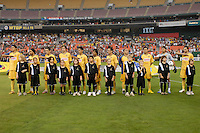 Club America during the singing of the Mexican National Anthem. DC United defeated Club America 1-0 to secure one of the two semifinal berths in SuperLiga group B, at RFK Stadium in Washington DC, Sunday July 29, 2007.