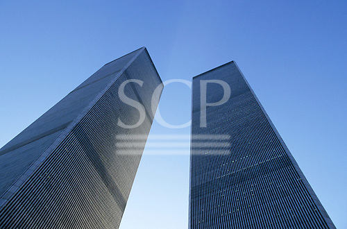 New York, USA. View up at twin towers of the famous World Trade Centre in financial district of southern Manhattan.