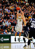 29 January 2012: University of Vermont Catamount guard Brendan Bald, a Junior from Millersville, MD, in action against the University of New Hampshire Wildcats at Patrick Gymnasium in Burlington, Vermont. The Catamounts defeated the Wildcats 77-60 in America East play. Mandatory Credit: Ed Wolfstein Photo