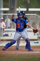 New York Mets catcher Patrick Mazeika (12) throws down to second base as batter Angel Reyes looks on during a minor league Spring Training game against the Miami Marlins on March 26, 2017 at the Roger Dean Stadium Complex in Jupiter, Florida.  (Mike Janes/Four Seam Images)
