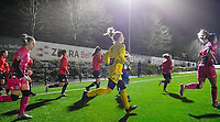 illustration picture showing both teams with goalkeeper Ambre Collet (1) of Sporting Charleroi entering the pitch during a female soccer game between Sporting Charleroi and SV Zulte-Waregem on the 12 th matchday of the 2020 - 2021 season of Belgian Scooore Womens Super League , friday 29 th of January 2021  in Marcinelle , Belgium . PHOTO SPORTPIX.BE   SPP   DAVID CATRY
