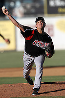 Matt Andriese #35 of the Lake Elsinore Storm pitches against the Lancaster JetHawks at Clear Channel Stadium on May 11, 2012 in Lancaster,California. (Larry Goren/Four Seam Images)