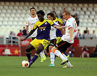 Valencia, Spain. Thursday 19 September 2013<br /> Pictured: (L-R) Wilfried Bony, Jeremy Mathieu.<br /> Re: UEFA Europa League game against Valencia C.F v Swansea City FC, at the Estadio Mestalla, Spain,
