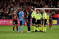 1st May 2021; Bankwest Stadium, Parramatta, New South Wales, Australia; A League Football, Western Sydney Wanderers versus Sydney FC; Graham Dorrans of Western Sydney Wanderers and Alex Wilkinson of Sydney during the coin toss