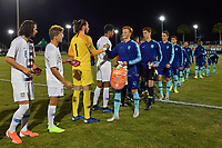 LAKEWOOD RANCH, FL - NOVEMBER 18: The Starting XI shake hands during a game between Netherland and U-17 USMNT at Premier Sports Campus on November 18, 2019 in Lakewood Ranch, Florida.
