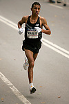 Khalid Khannouchi runs through Central Park while competing in the 2008 Men's Olympic Trials Marathon on November 3, 2007 in New York, New York.  The race began at 50th Street and Fifth Avenue and finished in Central Park.  Hall won the race with a time of 2:09:02.