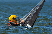 Grant Hearn (12-H) hangs on as his boat sinks from under him. (runabout)....Stock  Outboard Winter Nationals, Ocoee, Florida, USA.13/14 March, 2010 © F.Peirce Williams 2010