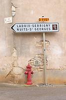 road sign ladoix-serrigny nuits st georges aloxe-corton cote de beaune burgundy france