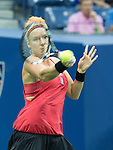 Bethanie Mattek-Sands (USA) loses to Serena Williams (USA) 3-6, 7-5, 6-0 at the US Open in Flushing, NY on September 4, 2015.