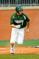 Shane Basen (8) of the Charlotte 49ers hustles down the first base line against the Virginia Commonwealth Rams at Robert and Mariam Hayes Stadium on March 30, 2013 in Charlotte, North Carolina.  The 49ers defeated the Rams 9-8 in game one of a double-header.  (Brian Westerholt/Four Seam Images)