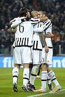 Esultanza giocatori Juventus dopo gol 2-0, goal celebration,<br /> Torino 16-12-2015, Juventus Stadium, Football Calcio 2015/2016 Coppa Italia, derby, Juventus - Torino, Foto Filippo Alfero/Insidefoto