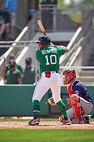 Boston Red Sox Hunter Renfroe (10) bats during a Major League Spring Training game against the Minnesota Twins on March 17, 2021 at JetBlue Park in Fort Myers, Florida.  (Mike Janes/Four Seam Images)