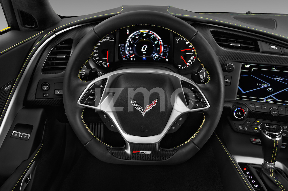 Car pictures of steering wheel view of a 2018 Chevrolet Corvette Z06-Coupe-1LZ 3 Door Targa Steering Wheel