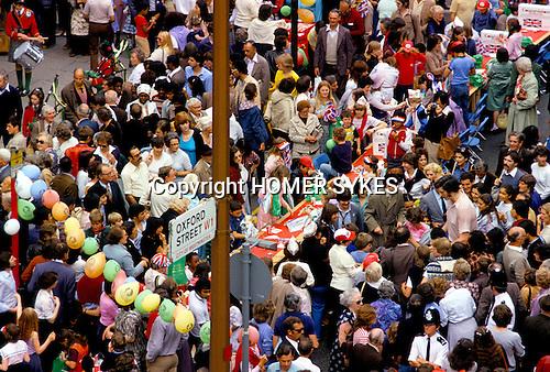 Silver Jubilee celebrations, London 1977.Uk Street Party Oxford street.