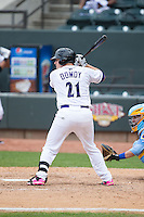 Jeremy Dowdy (21) of the Winston-Salem Dash at bat against the Myrtle Beach Pelicans at BB&T Ballpark on May 10, 2015 in Winston-Salem, North Carolina.  The Pelicans defeated the Dash 4-3.  (Brian Westerholt/Four Seam Images)