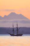 Lady Washington, sail training ship, Grays harbor Historical Seaport Authority, dawn departure, Port Townsend, Puget Sound, Washington State, Pacific Northwest, USA, historic ships, sailing ship,